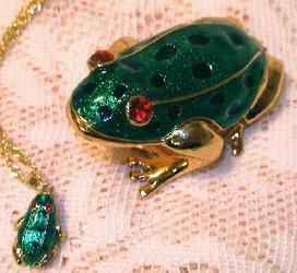 Bejeweled Green Leopard Frog Enamel Trinket Box with Swarovski Crystals
