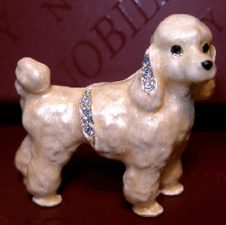 Cute Bejeweled Poodle Puppy Dog Enamel Pin with Austrian Crystals