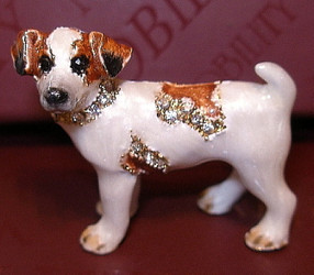 Bejeweled Jack Russell Terrier Dog Enamel Pin Brooch with Austrian Crystals