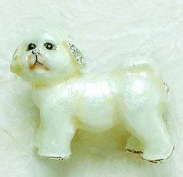 Bejeweled Bichon Frise Puppy Dog Pearlized Enamel Pin with Austrian Crystals