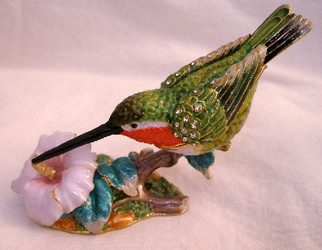 Bejeweled Green Ruby-Throated Hummingbird and Flower Enamel Trinket Box