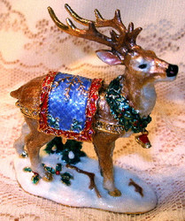 Bejeweled Standing Winter Reindeer Enamel Trinket Box with Austrian Crystals