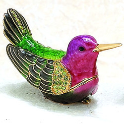 Bejeweled Anna's Hummingbird Enamel Trinket Box with Austrian Crystals