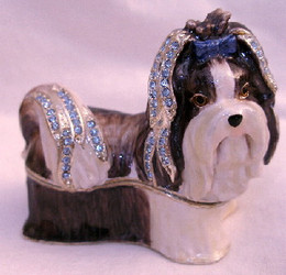 Bejeweled Shih Tzu Puppy Dog Enamel Trinket Box with Austrian Crystals