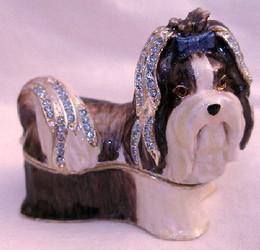 Bejeweled Shih Tzu Puppy Dog Enamel Trinket Box with Austrian Crystals