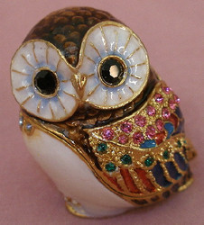 Bejeweled Baby Owl Bird with Austrian Crystals Enamel Trinket Box