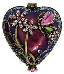 Bejeweled Heart Butterfly and Flowers with Austrian Crystals Enamel Trinket Box