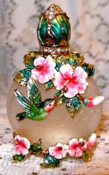 Bejeweled Hummbird & Pink Flowers Austrian Crystal Enamel Perfume Bottle