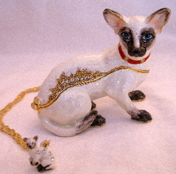 Bejeweled Siamese Cat 2pc Enamel Trinket Box with Austrian Crystals