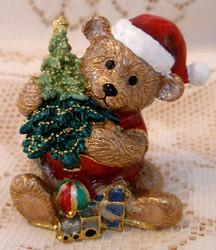 Santa Brown Teddy Bear with Tree and Toys Austrian Crystal Enamel Trinket Box