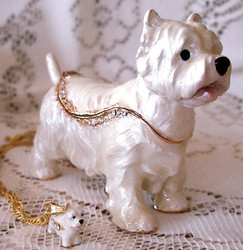 Bejeweled Westie West Highland Terrier Dog Enamel Trinket Box with Matching Necklace