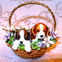 Bejeweled Puppy Dogs in Woven Wicker Flower Basket Enamel Trinket Box