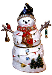 Bejeweled Winter Snowman & Birds Enamel Trinket Box with Austrian Crystals