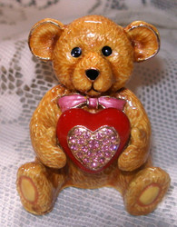 Sweet Teddy Bear and Red Heart with Austrian Crystal Trinket Box