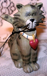 Funny Grey Tabby Cat w/ Red Heart Collar Resin Figurine by Blossom Bucket