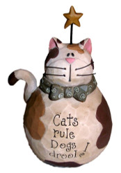 "Cute Fat Calico Cat with Gold Star ""Cats Rule Dogs Drool"" Resin Figurine"