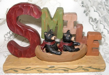 "Sweet BLACK BEAR Family in CANOE ""SMILE"" Large Resin Block Figurine"