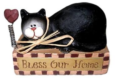 """Black & White Tuxedo CAT on BLOCK """"Bless Our Home"""" Resin FIGURINE"""