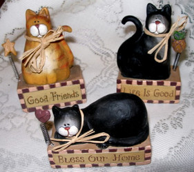 Cute Orange Tabby Cat and Black & White Cats on Block Set of Three Resin Figurines