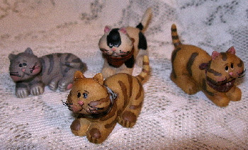 Cute Mini Kittens Cats Set of 4 Resin Figurine by Blossom Bucket