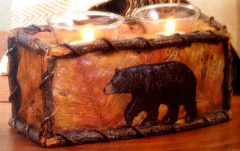 Unique Black Bear and Maple Leaf Resin Double Candle Holder