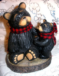 "Sweet Northwood Black Bear & Cub ""Count Your Blessings"" Resin Figurine"