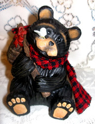 Cute Northwood Black Bear with Honey Pot & Bee Resin Figurine