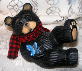Cute Northwood Black Bear with Blue Butterfly Resin Figurine