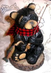 "Northwood Black Bear with Fish & Fishing Pole ""Time Well Spent"" Resin Figurine"