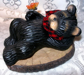 "Northwood Black Bear with Red Butterfly ""Dream Everyday"" Resin Figurine"