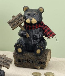 "Black Northwood Bear on Tree Log Resin 6.25"" Piggy Money Bank"