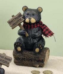"Black Northwood Bear on Tree Log Resin 6.25"" Piggy Money Bank"