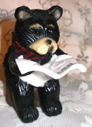 Northwood Black Bear Reading Newspaper on Stump Resin Figurine