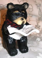 Northwood Black Bear Reading Newspaper on Stump Resin Figurine