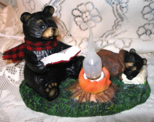 Northwood Black Bear & Cub at Campfire Nightlight Resin Figurine