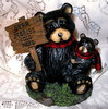 "Sweet Northwood Black Bear Mama & Cub ""Bear Stories Told Here"" Resin Figurine"
