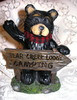 "Northwood Black Bear Holding""Bear Creek Lodge Camping"" Sign Resin Figurine"