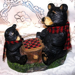 Sweet Northwood Black Bear & Cub Playing Checkers Resin Figurine