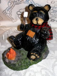 Northwood Black Bear with Marshmallow & S'mores over Campfire Resin Figurine