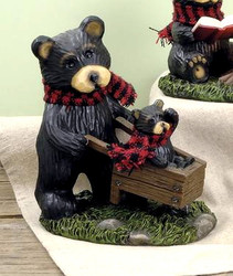 Northwood Black Bear Mama and Bear Cub in Wheelbarrow Resin Figurine