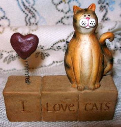 I Love CATS Block with Red Heart and Calico Cat Resin Figurine