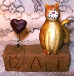 CAT Block w/ Red Heart Orange Tabby Cat Resin Figurine