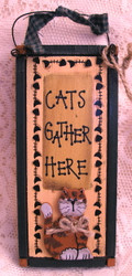 "Cute Orange Tabby Cat ""Cats Gather Here"" Wood Hanger Sign Folk Art"