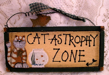 Orange Tabby Cat and Fishbowl Cat-Astrophy Zone Wood Hanger Folk Art
