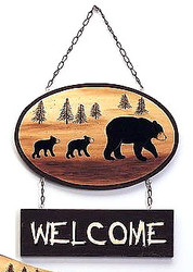 "Silhouette Black Bear and Cubs withTrees 17"" Welcome Sign"
