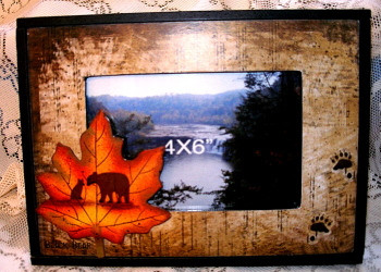 Unique Black Bear & Cub on Maple Leaf 4x6 Picture Frame