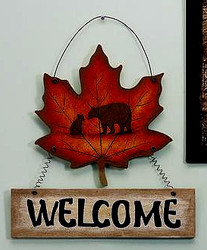 "Black Bear & Cub on Maple Leaf Shaped 15"" Wood Welcome Sign"
