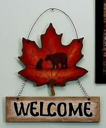 "Black Bear & Cub on Maple Leaf Shaped 15"" Wood Welcome Sign"