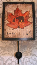 Black Bear & Cub on Maple Leaf Sign with Black Metal Hook