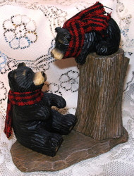 Playful Northwood Black Bear & Baby Cub on Tree Stump Resin Figurine